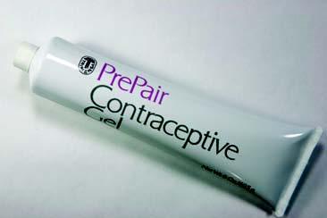 A white tube reading PrePair Contraceptive Gel