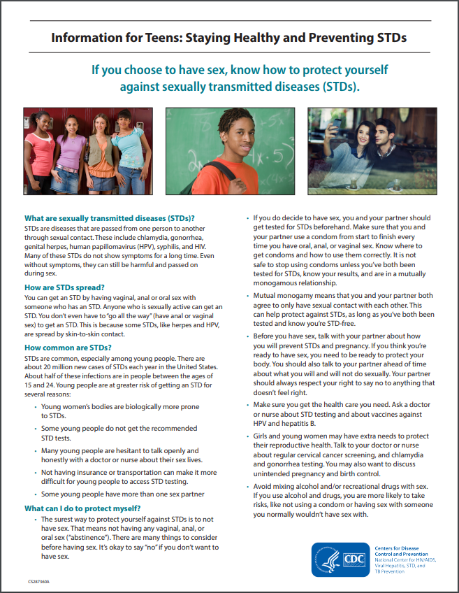CDC Information for Teens – STD Fact Sheet