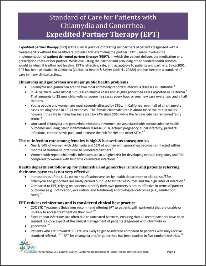 Standard of Care for Patients with Chlamydia and Gonorrhea: Expedited Partner Therapy (EPT)