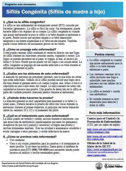 Congenital Syphilis Frequently Asked Questions – Spanish (Los Angeles County Public Health)