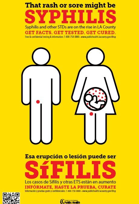 'That Rash Might Be Syphilis' Poster – English/Spanish (Los Angeles County Public Health)