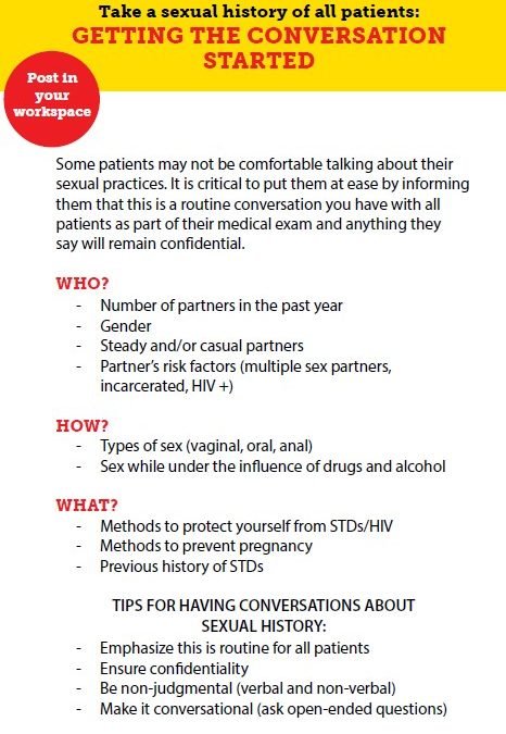 Take a Sexual History of All Patients: Getting the Conversation Started (Los Angeles County Public Health)